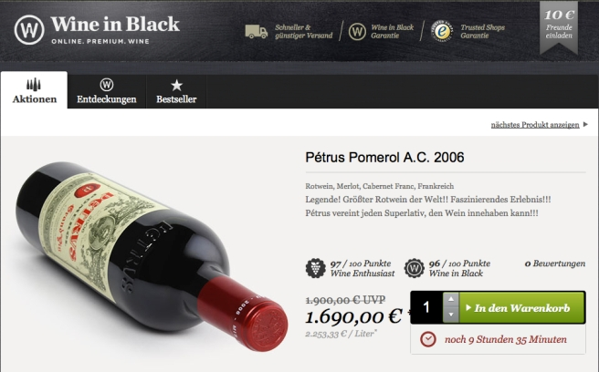 Chateau Petrus bei Wine in Black