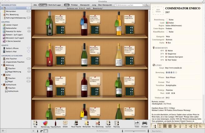 So sieht Vinoteka auf dem Mac aus.