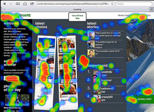 """Eine """"Heatmap"""" zeigt, welche Bereiche auf einer Webseite wie intensiv genutzt werden."""