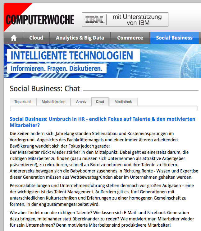 Social Business Chat auf ibmexperts.computerwoche.de