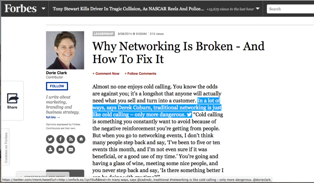 How to to easily tweet portions of an article on Forbes ...
