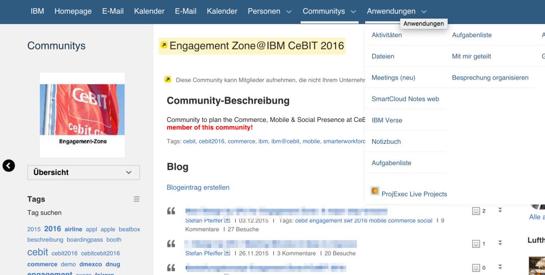 Eine klare, übersichtliche Einstiegspunkt in die IBM Connections Cloud Module: E-Mail, Enterprise Social Networking, Chat, Meetings und vieles mehr ...